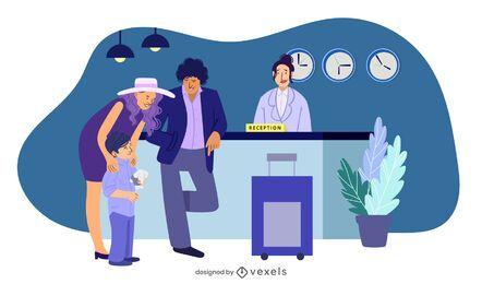 Ilustración familiar de recepción del hotel
