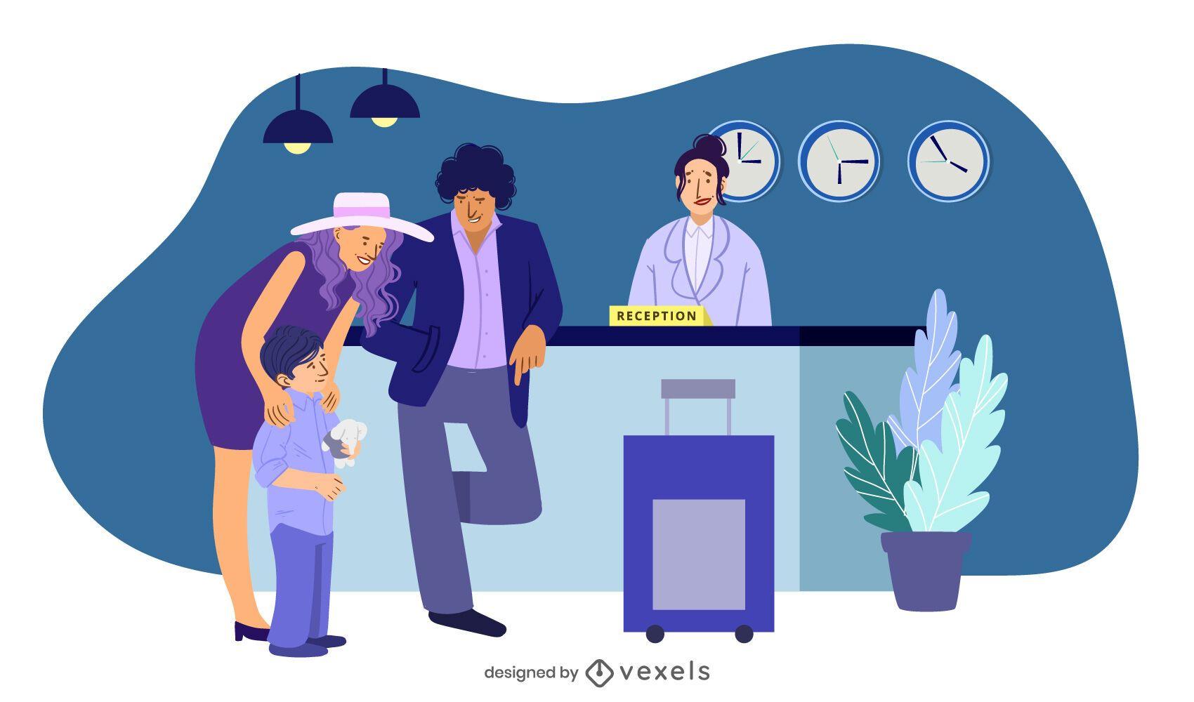 hotel reception family illustration