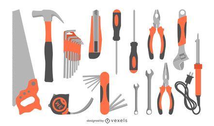 conjunto plano de herramientas de construcción