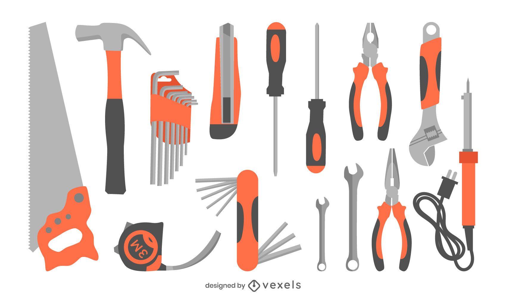 construction tools flat set