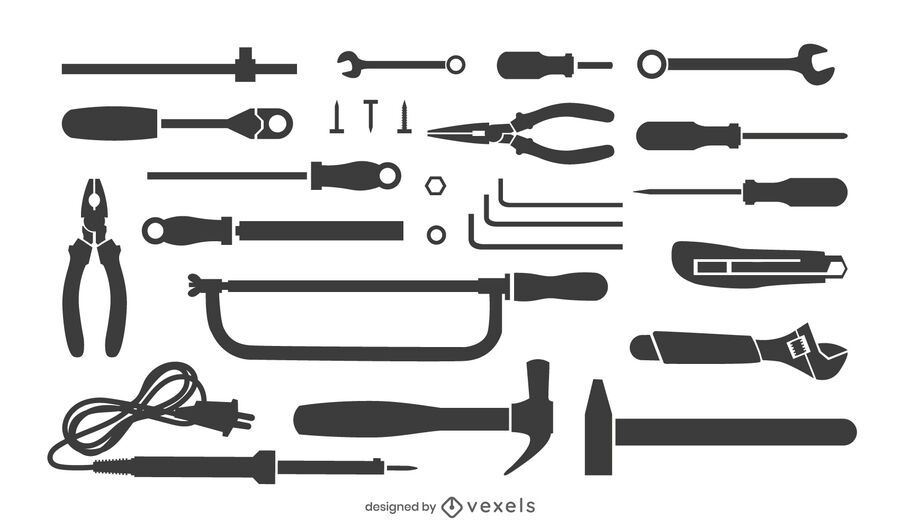 conjunto de silueta de herramientas