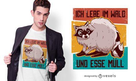Diseño de camiseta de cita alemana de mapache vintage