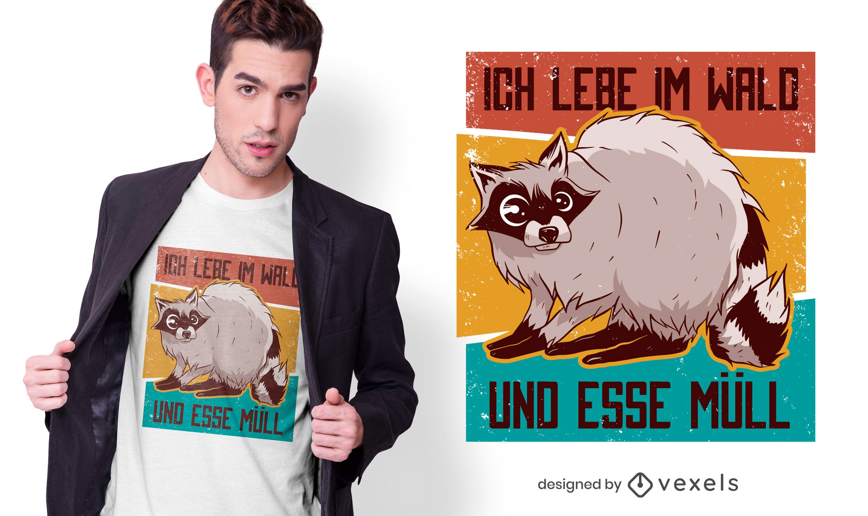 Design de t-shirt com citação alemã de guaxinim vintage