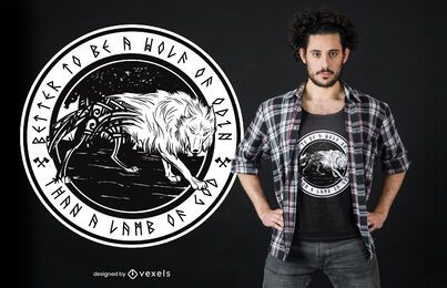 Design do t-shirt do lobo de Odin