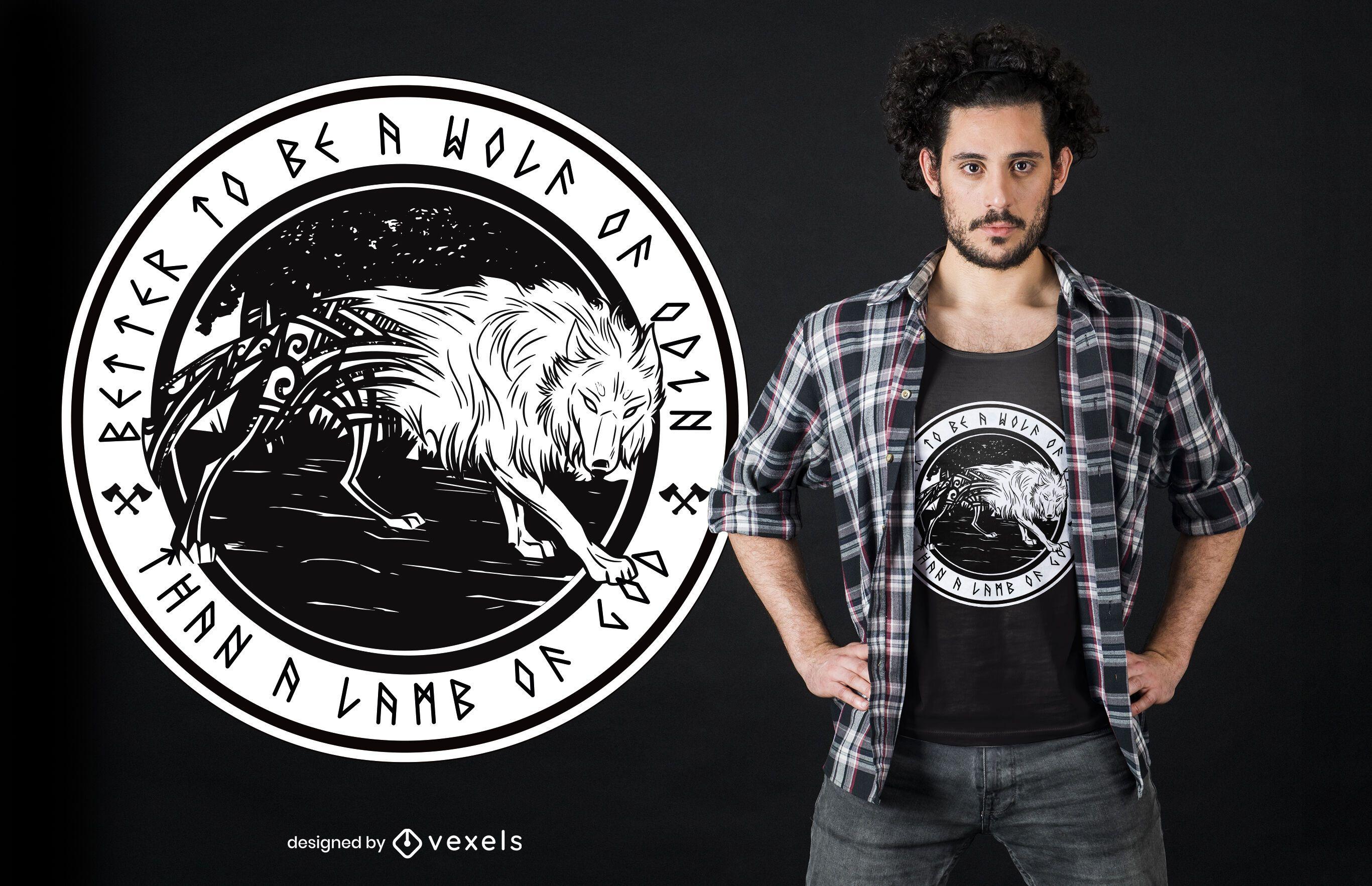 Diseño de camiseta Wolf of Odin