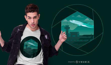 Diseño de camiseta del obturador del aeropuerto