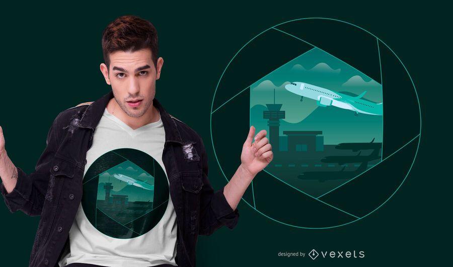 Design de t-shirt de obturador de aeroporto