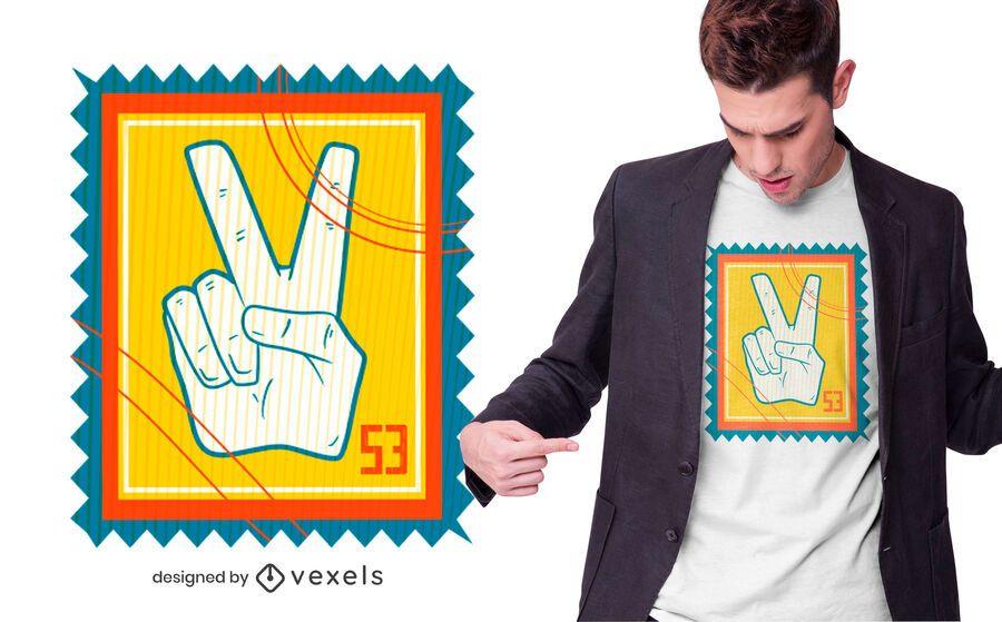 Diseño de camiseta de sello de signo de la paz