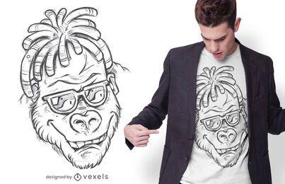 Diseño de camiseta gorila dibujado a mano