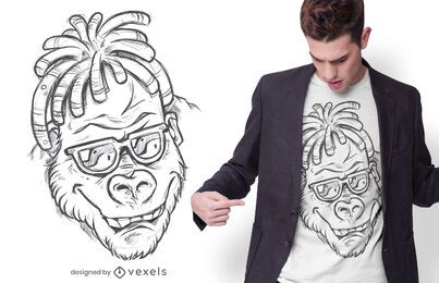 Gorilla hand drawn t-shirt design