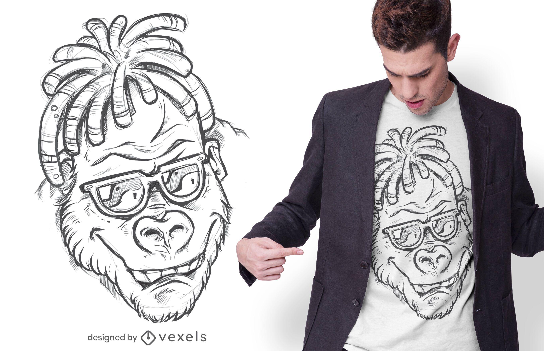 Gorilla hand drawn t-shirt design