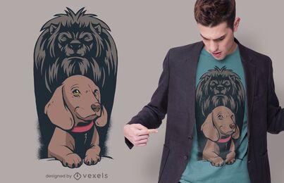 Design do t-shirt da sombra do leão do cão