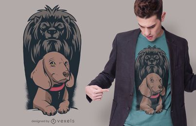 Dog Lion Shadow T-shirt Design