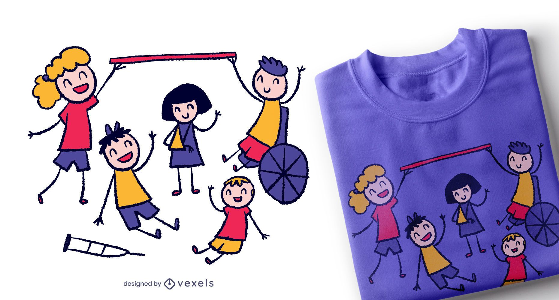 Design de t-shirt do Doodle Kids Together