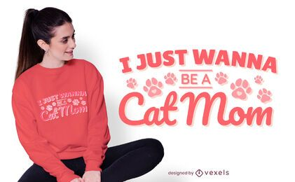 Diseño de camiseta cat mom quote