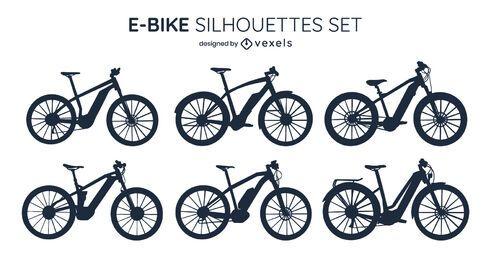 Pacote de design de silhueta de bicicleta elétrica