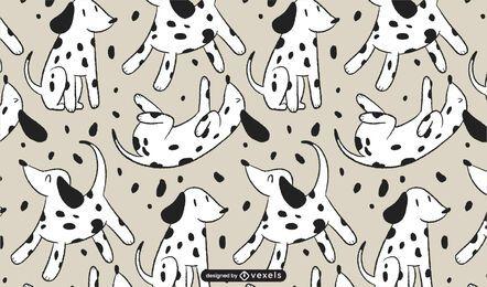 Patrón de dibujos animados de perro dálmata