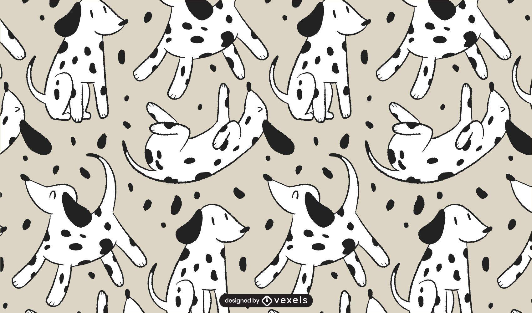 Dalmatian Dog Cartoon Pattern