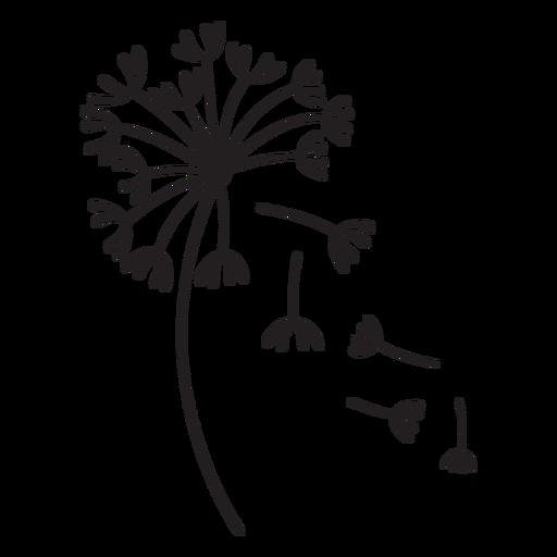 Dandelion buds multiple variety falling stroke Transparent PNG