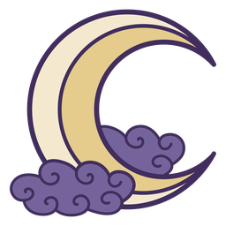 Magic crescent moon icon
