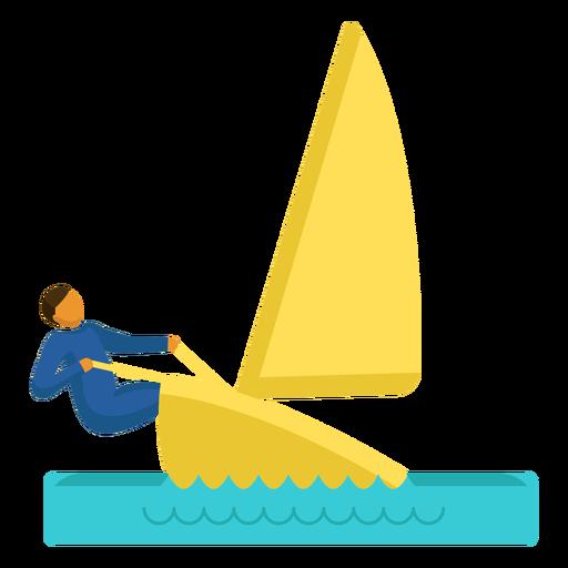 Pictograma de deporte olímpico navegando plana