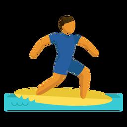 Pictograma de deporte olímpico surf mar plano