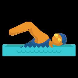 Pictograma de deporte olímpico nadando plano