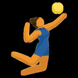 Pictograma de deporte olímpico voleibol que sirve plano