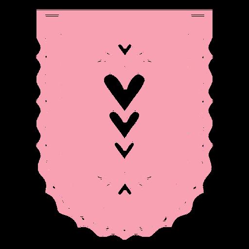Papel picado badge hearts flat