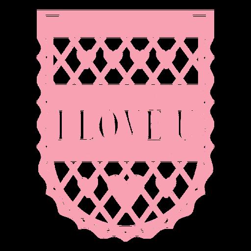 Papel picado badge love flat Transparent PNG