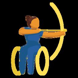 Tiro com arco de pictograma esporte paralímpico plana