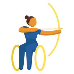 Tiro con arco deporte pictograma paralímpico plana