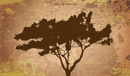 Silueta, de, árbol, en, grunge, fondo