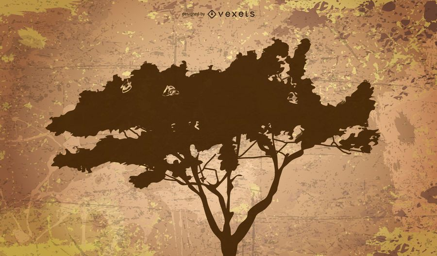 Silhouette of tree on grunge background