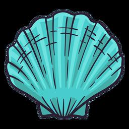 Mão de vieira de conchas do mar desenhada