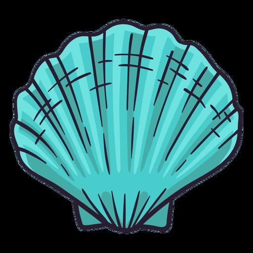 Dibujado a mano vieira de la bahía de conchas