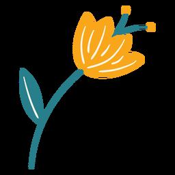 Pólen de folha de flor de primavera plana