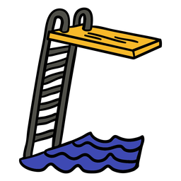 Swimming diving board ladder hand drawn