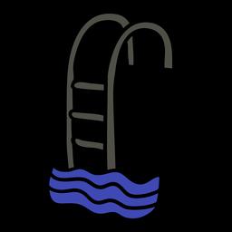 Escalera de piscina dibujada a mano