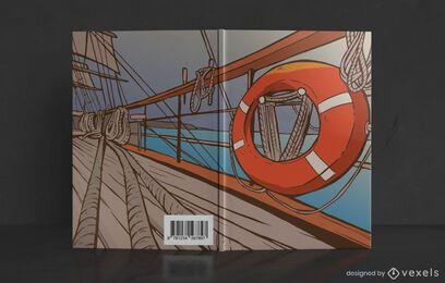 Design de capa de livro de convés de navio