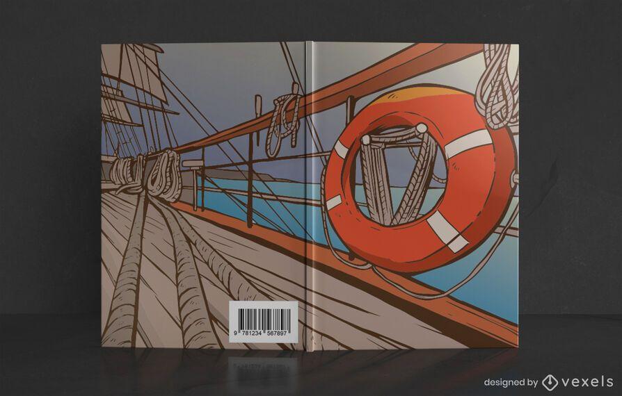 Diseño de portada de libro de cubierta de barco