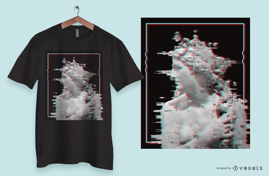 Glitch Statue T-shirt Design