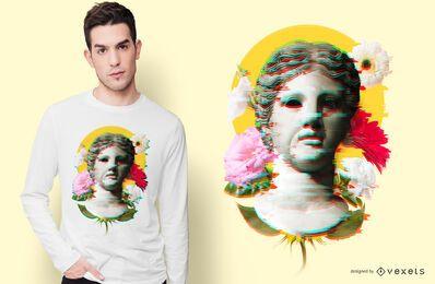 Diseño de camiseta Glitch de estatua de mujer