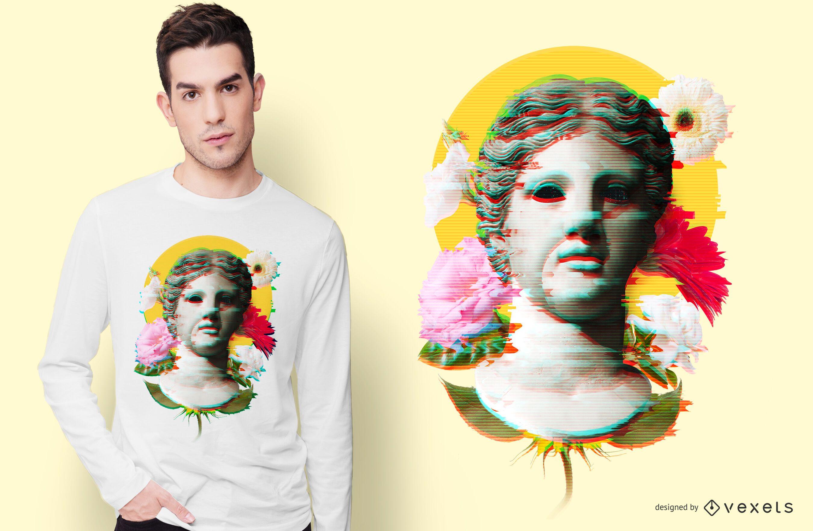 Woman Statue Glitch T-shirt Design