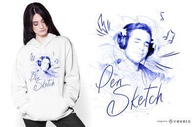 Diseño de camiseta de dibujo a lápiz