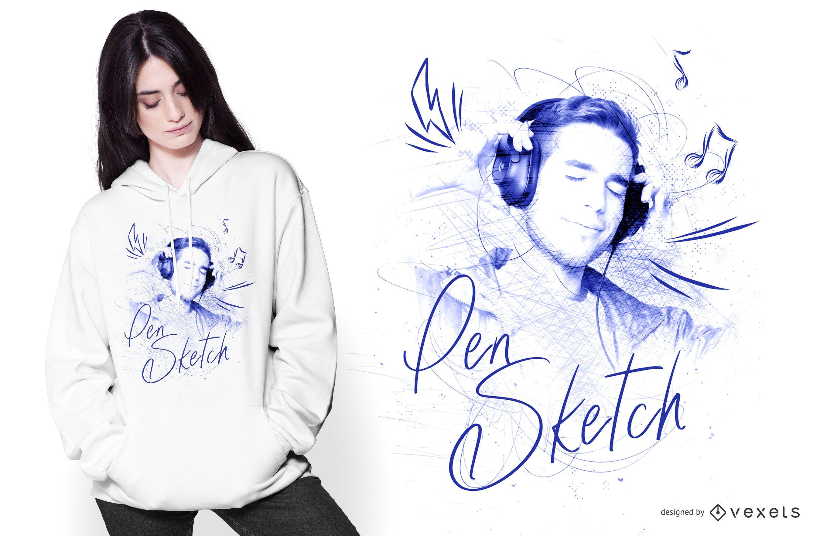 Pen Sketch Drawing T-shirt Design