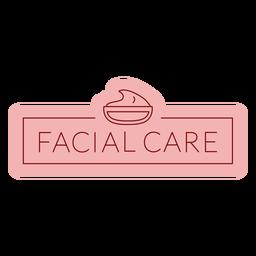 Rótulo de banheiro plano para cuidados faciais