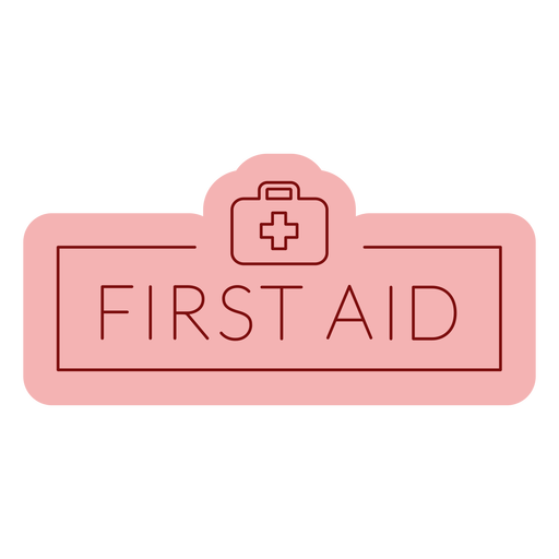 Etiqueta de baño primeros auxilios plana