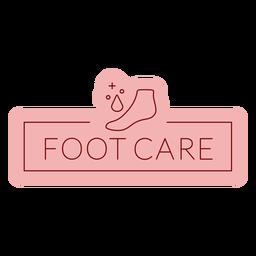 Etiqueta de baño cuidado de los pies plana