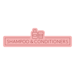 Bathroom label shampoo conditioners flat